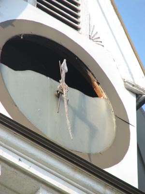 close-up of damage to the clock in the Ft. Snelling clock tower