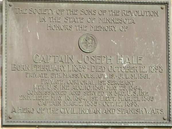 Plaque commemorating Captain Joseph Hale, who died in 1898. The plaque was on the front of the abandoned Ft. Snelling HQ. It disappeared sometime between July 2006 and February 2007